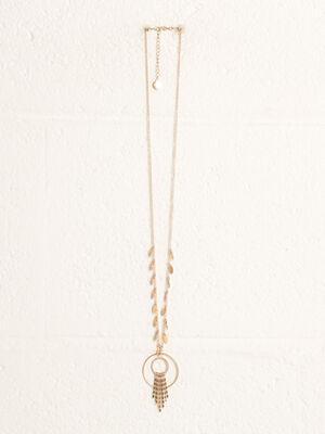 Collier pendentif anneaux couleur or femme