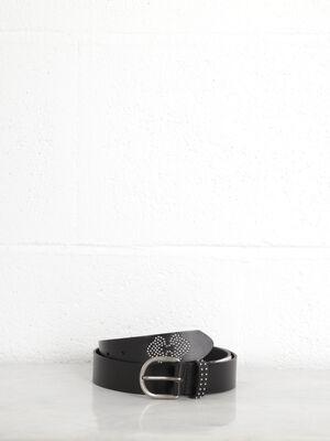 ceinture cuir a studs femme noir
