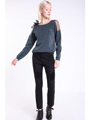 Jeans regular taille haute brut noir femme