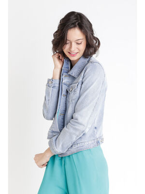 Veste en jean denim bleach femme