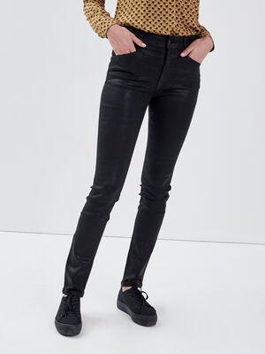 Jeans slim enduit push up denim noir enduit femme