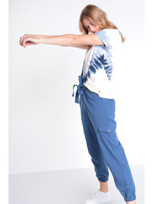 Pantalon carotte bas elastique bleu fonce femme