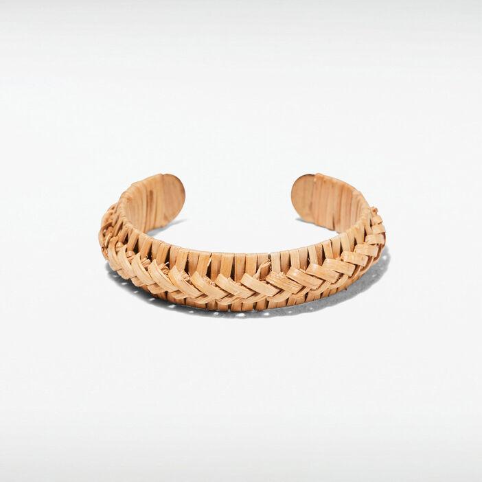 Bracelet manchette tressé beige femme
