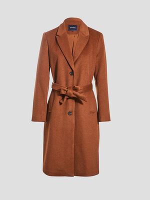 Manteau droit ceinture marron femme