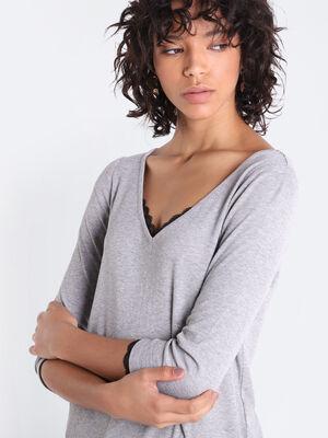 T shirt manches 34 boutonne gris femme