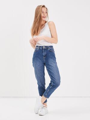 Jeans mom 5 poches denim stone femme