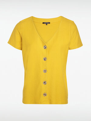 T shirt boutons jaune citron femme
