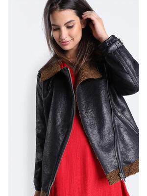 Manteau droit col a sangles noir femme