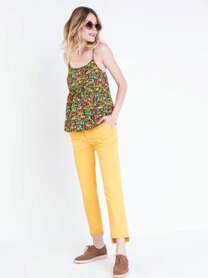Pantalon chino devant court jaune moutarde femme