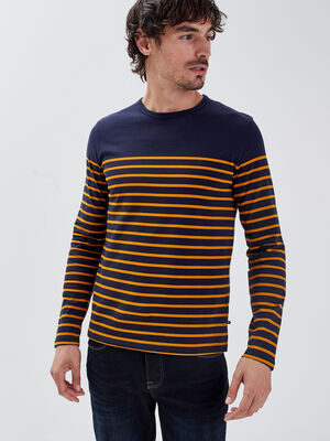 T shirt manches longues jaune moutarde homme