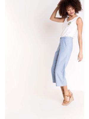 pantalon 78e large femme taille haute bleu clair