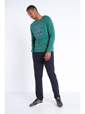 Pantalon chino taille haute bleu marine homme