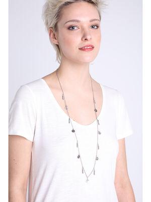 Collier pieces et pompons couleur argent femme