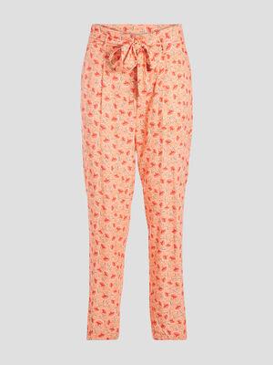 Pantalon carotte ceinturee rose corail femme