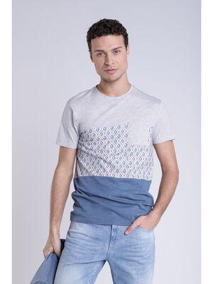 T shirt imprime bleu gris homme