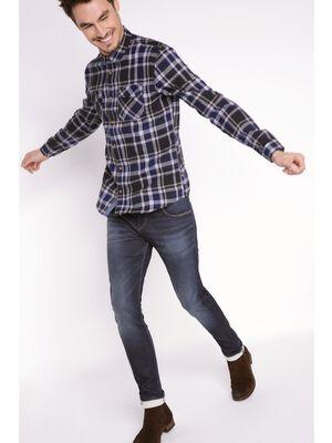 jeans homme slim effet used denim brut