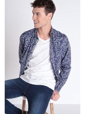 Chemise manches longues bleu marine homme