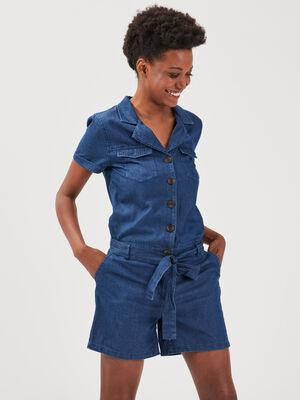 Combishort ceinturee en jean denim used femme