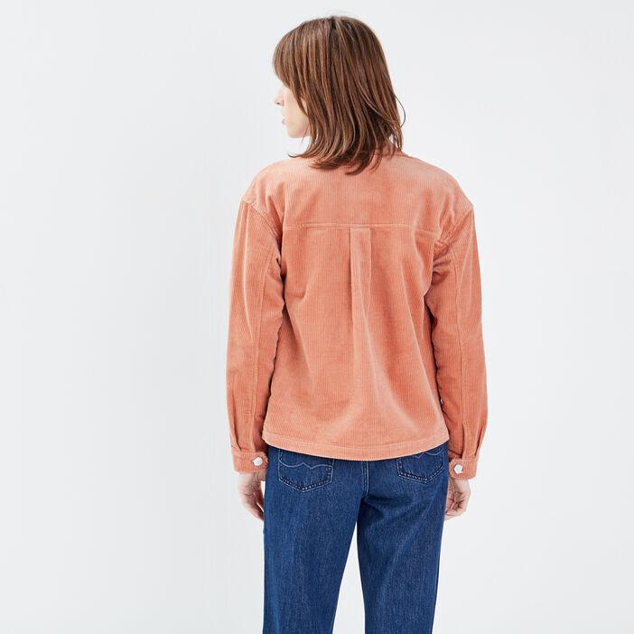 Veste droite velours côtelé terracotta femme
