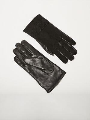 Gants details au poignet noir femme