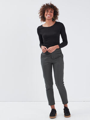 Pantalon cigarette noir femme