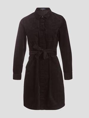 Robe droite effet velours noir femme