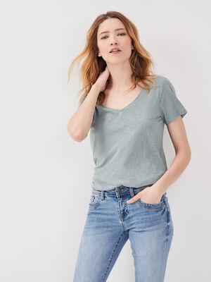 T shirt eco responsable gris fonce femme