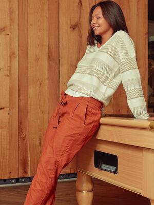 Pantalon carotte effet velours marron cognac femme