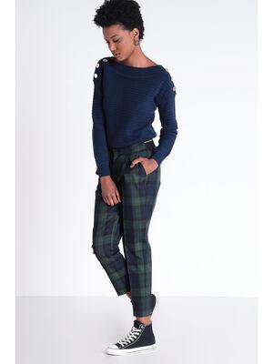 Pantalon chino elastique bleu fonce femme