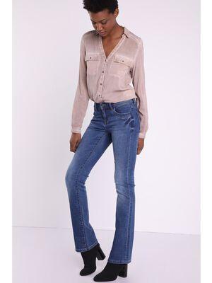 Jeans bootcut used Instinct denim stone femme
