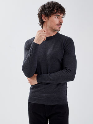 Pull 100 laine merinos gris fonce homme