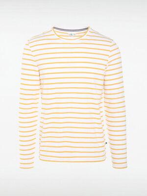 T shirt Instinct col rond jaune fonce homme