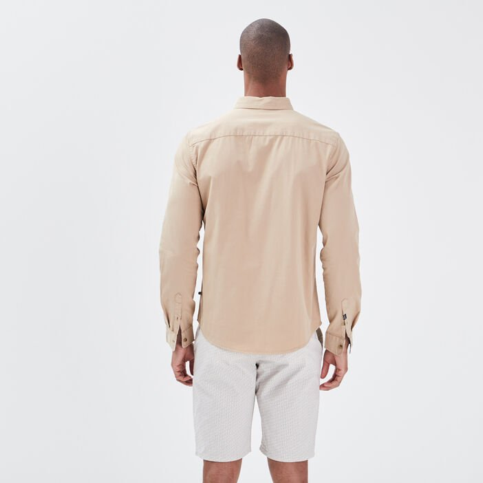 Chemise manches longues beige homme