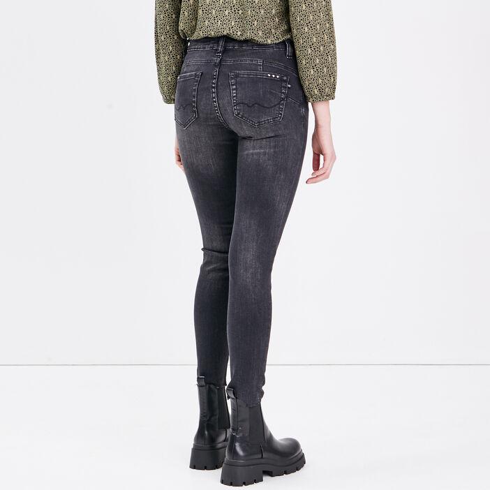 Jeans slim à détails studs denim noir femme