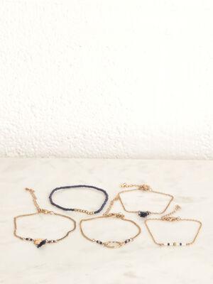 Lot 5 bracelets bleu fonce femme