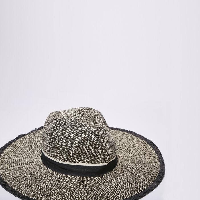 Chapeau tressé à franges noir femme
