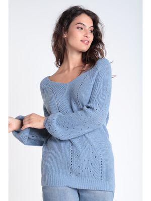 Pull manches longues ajoure bleu gris femme