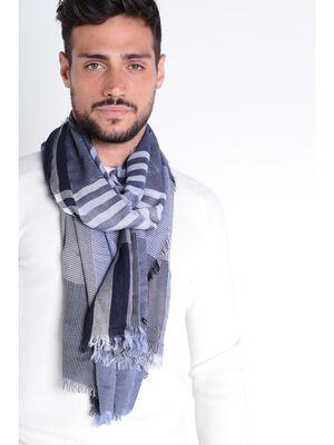 Foulard a franges bleu fonce homme