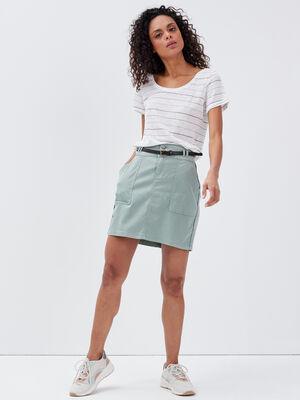 Jupe droite ceinturee vert olive femme