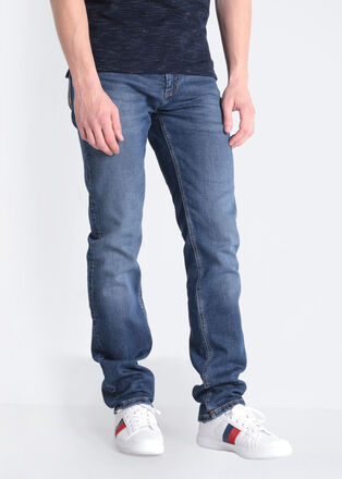 Jeans straight used L32 denim stone homme