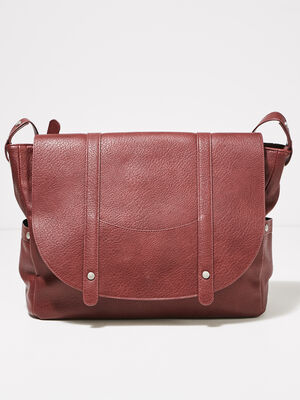 Sac besace rectangulaire rouge fonce femme