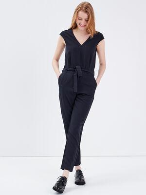 Combinaison pantalon ceinturee noir femme