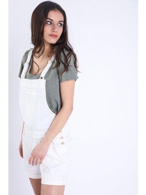 Salopette short droite blanc femme