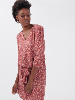 Robe droite ceinturee marron cognac femme