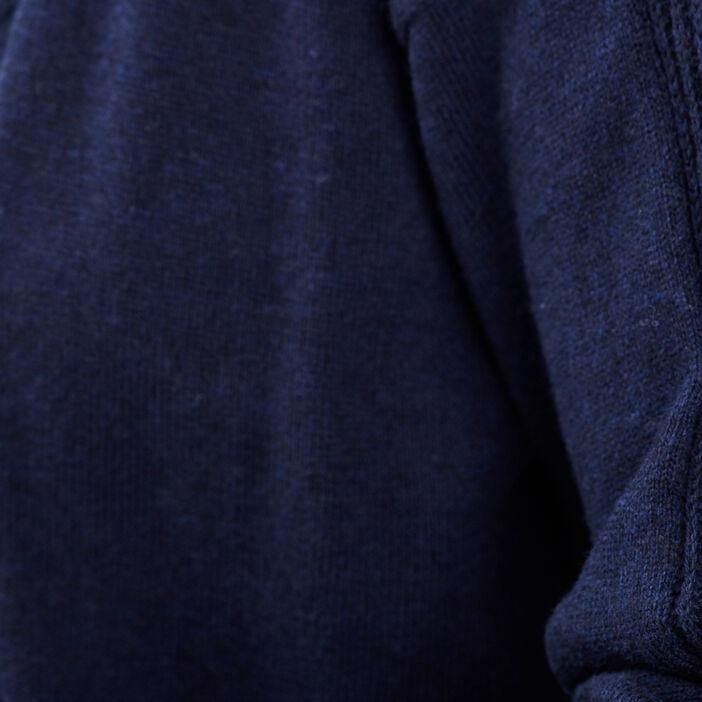 Gilet manches longues ajouré bleu marine femme