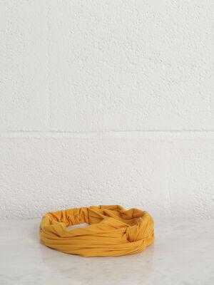 Bandeau plisse effet noue jaune or femme