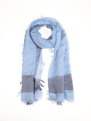 Foulard a franges bleu lavande homme