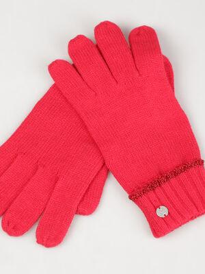 Gants maille lisere metallise rouge femme