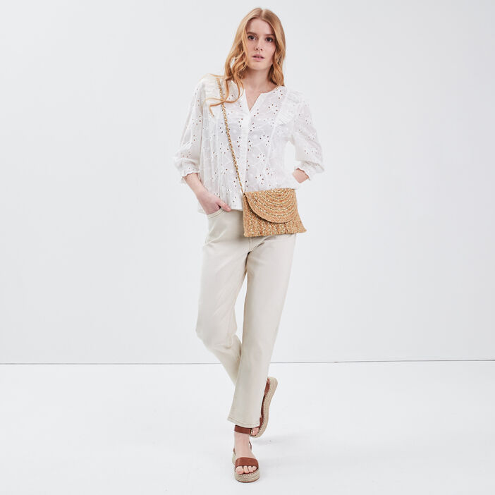 Pantalon mom beige femme