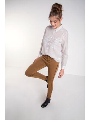 pantalon femme skinny colore marron